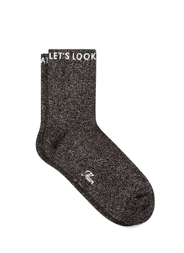 Mavi Simli  Soket Çorap Siyah
